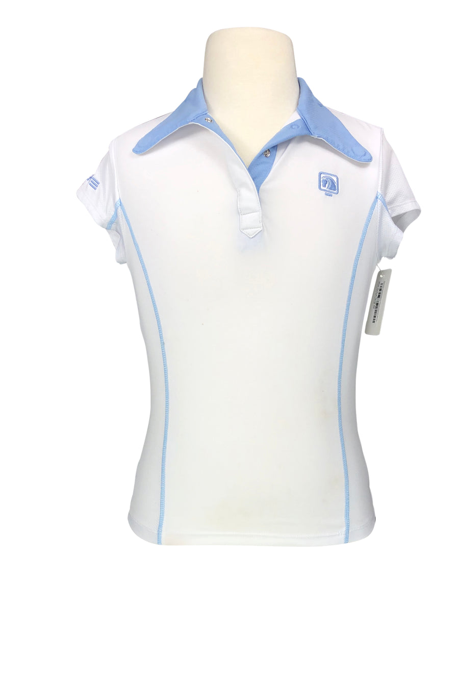Romfh Competitor Short Sleeve Show Shirt in White/Blue - Children's S