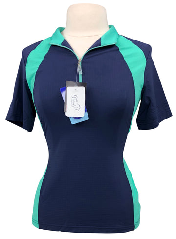 EIS Paneled Short Sleeve COOL Shirt in Navy/Jade - Women's M