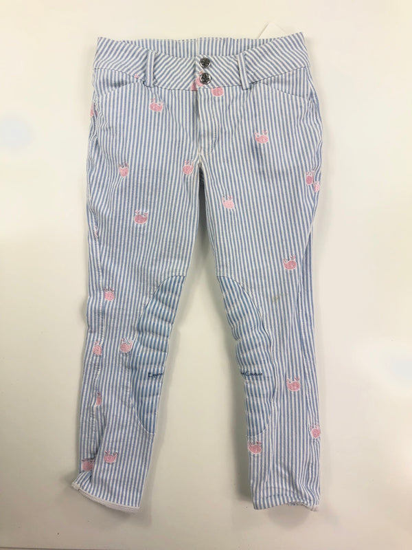 Equine Couture Whales Knee Patch Breeches in Light Blue - Children's 12