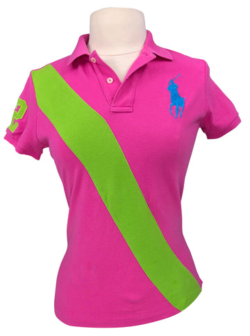 Ralph Lauren Skinny Fit Big Pony Polo Shirt in Pink/Lime - Women's M