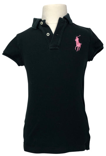 Ralph Lauren Short Sleeve Polo in Black/Pink - Children's 6X