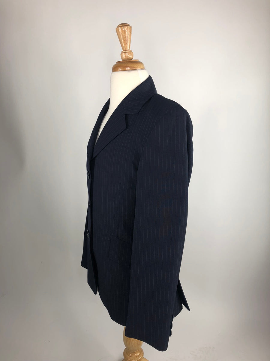 RJ Classics Essentials Collection Hunt Coat in Navy Pinstripe -  Left Side View