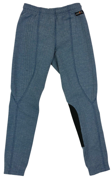 Kerrits Fleece Performance Riding Tight in Blue Herringbone - Children's M