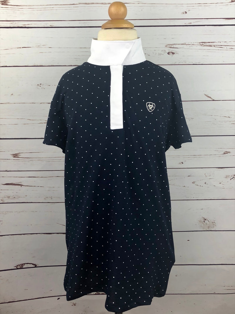 Ariat Aptos Show Top in Navy Dot - Girls XL