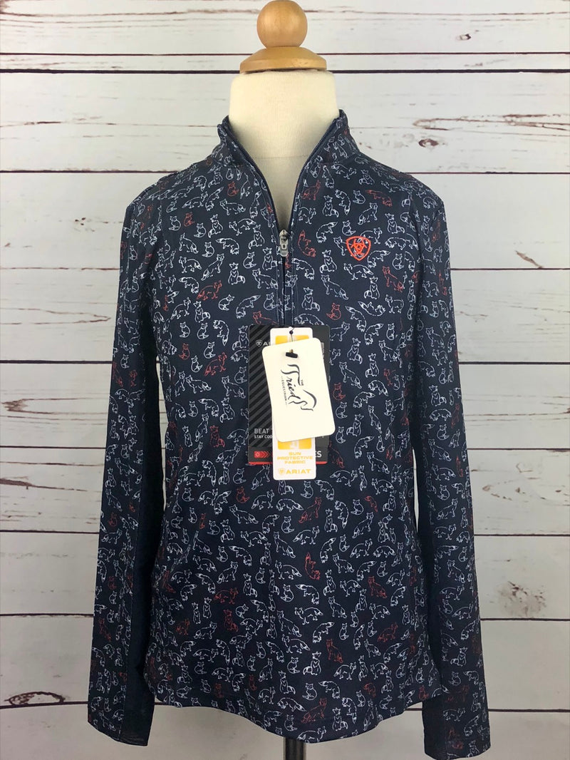Ariat Sunstopper 1/4 Zip Top in Navy Fox Print - Girls Small