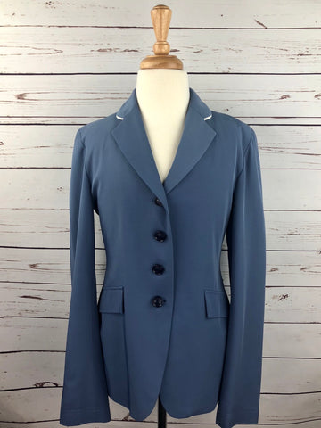 Grand Prix Hunt Coat in French Blue/Oyster Piping - Front View