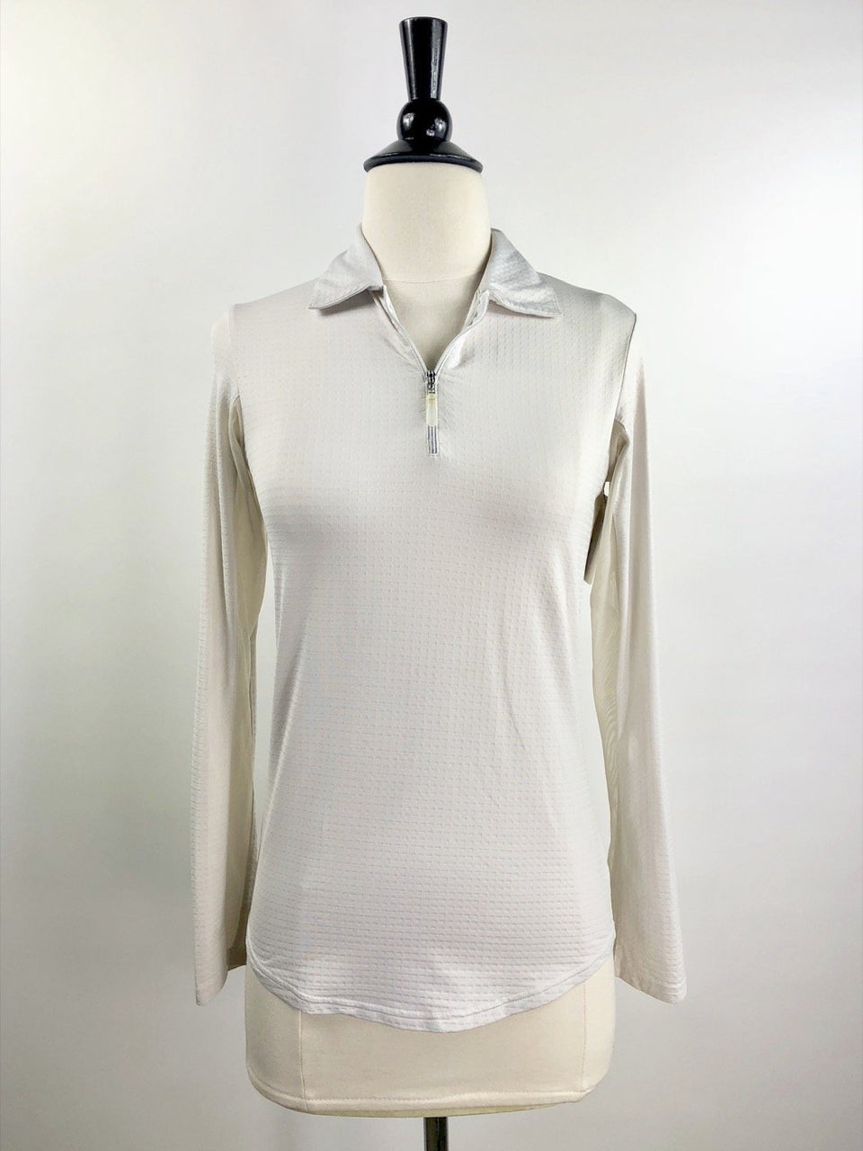 Bette and Court Cool Elements Long Sleeve Polo in Ivory - Women's XS