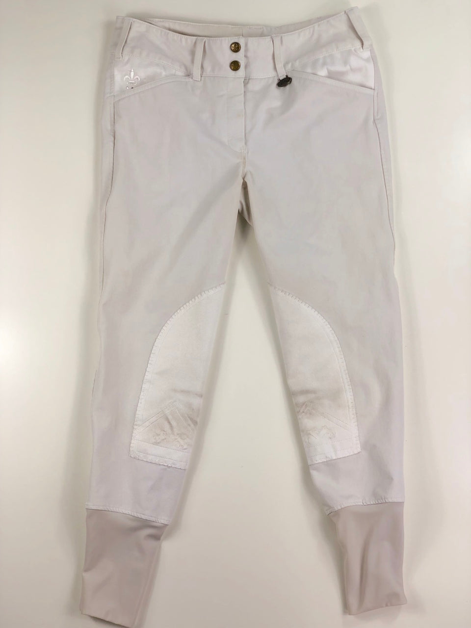 Equine Couture Debbie Stephens Knee Patch Breeches  in White - Women's 28