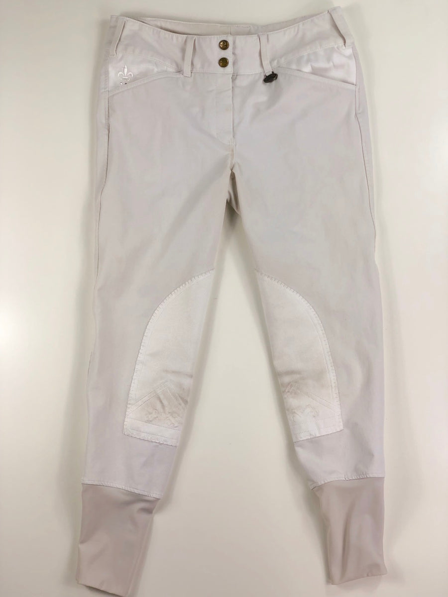 Equine Couture Debbie Stephens Knee Patch Breeches in White -  Front View