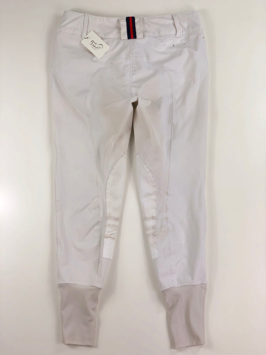 Equine Couture Debbie Stephens Knee Patch Breeches in White -  Back View