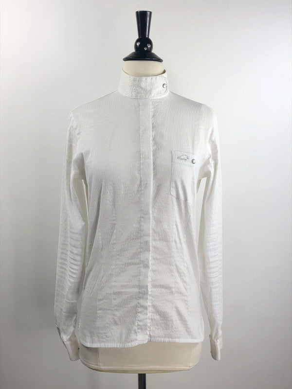 Winston Equestrian Lara Show Shirt in White Stripe - Women's 38T