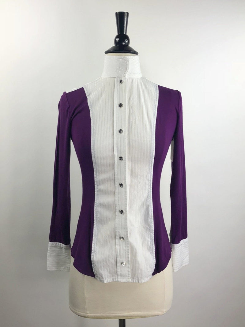 Le Fash Open Placket Shirt in Whilte/Purple - Women's XS