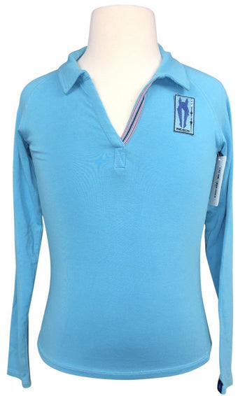 Irideon Furlong Long Sleeve Polo in Aquamarine - Children's S