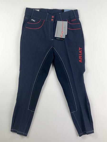 Ariat Olympia Acclaim Regular Rise Full Seat Breeches in Team Navy- Front View