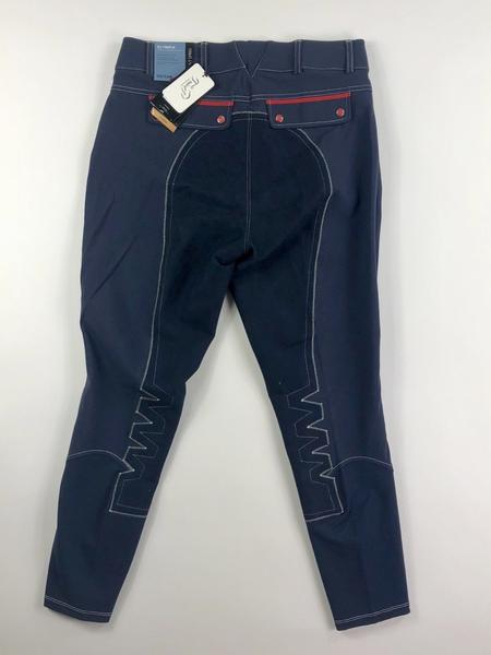 Ariat Olympia Acclaim Regular Rise Full Seat Breeches in Team Navy- Back View