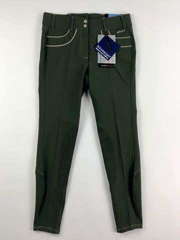 Ariat Olympia Acclaim Knee Patch Breeches in Kombu - Front View