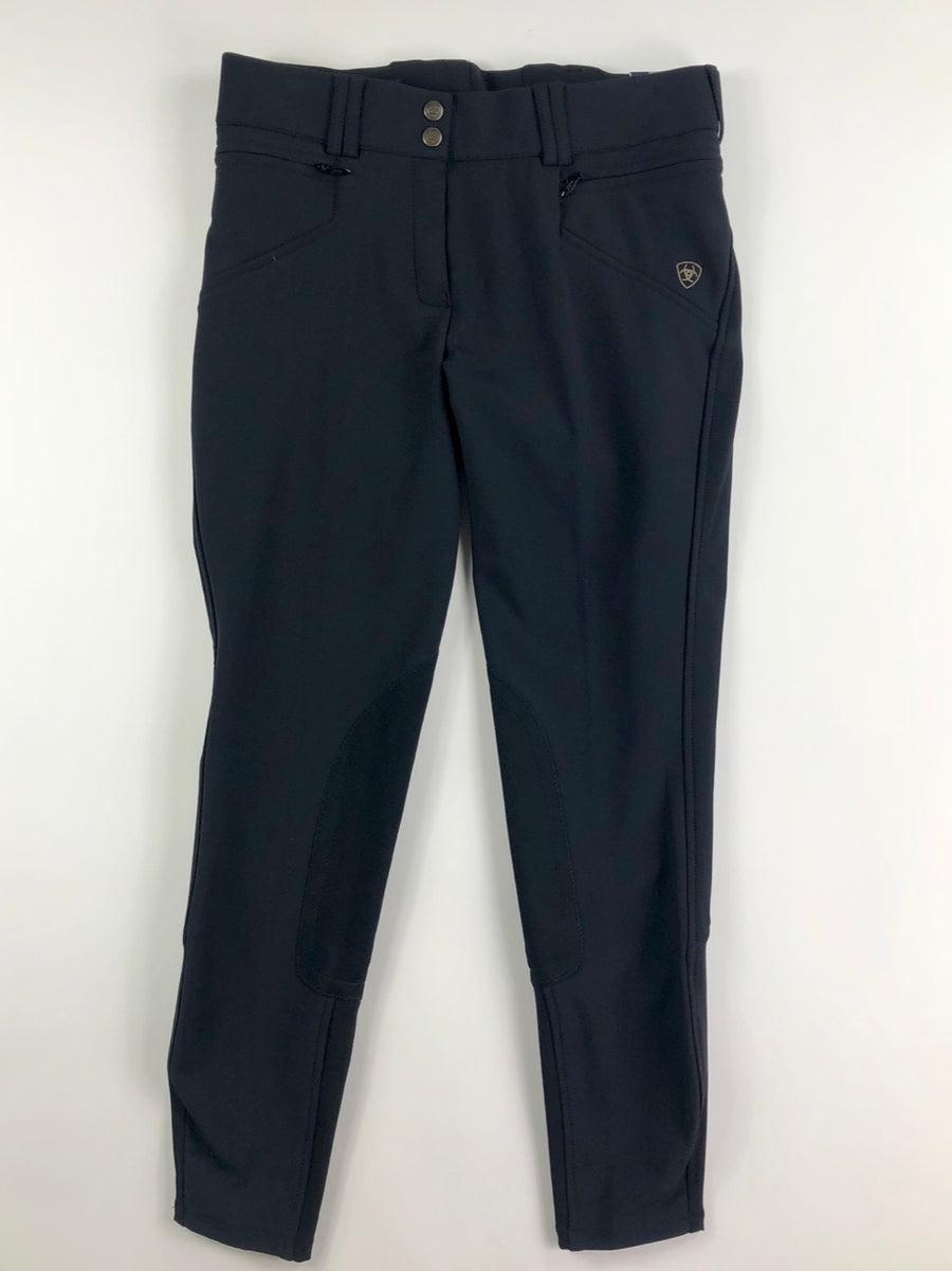 Ariat Mikelli Softshell Knee Patch Breeches in Black- Front View