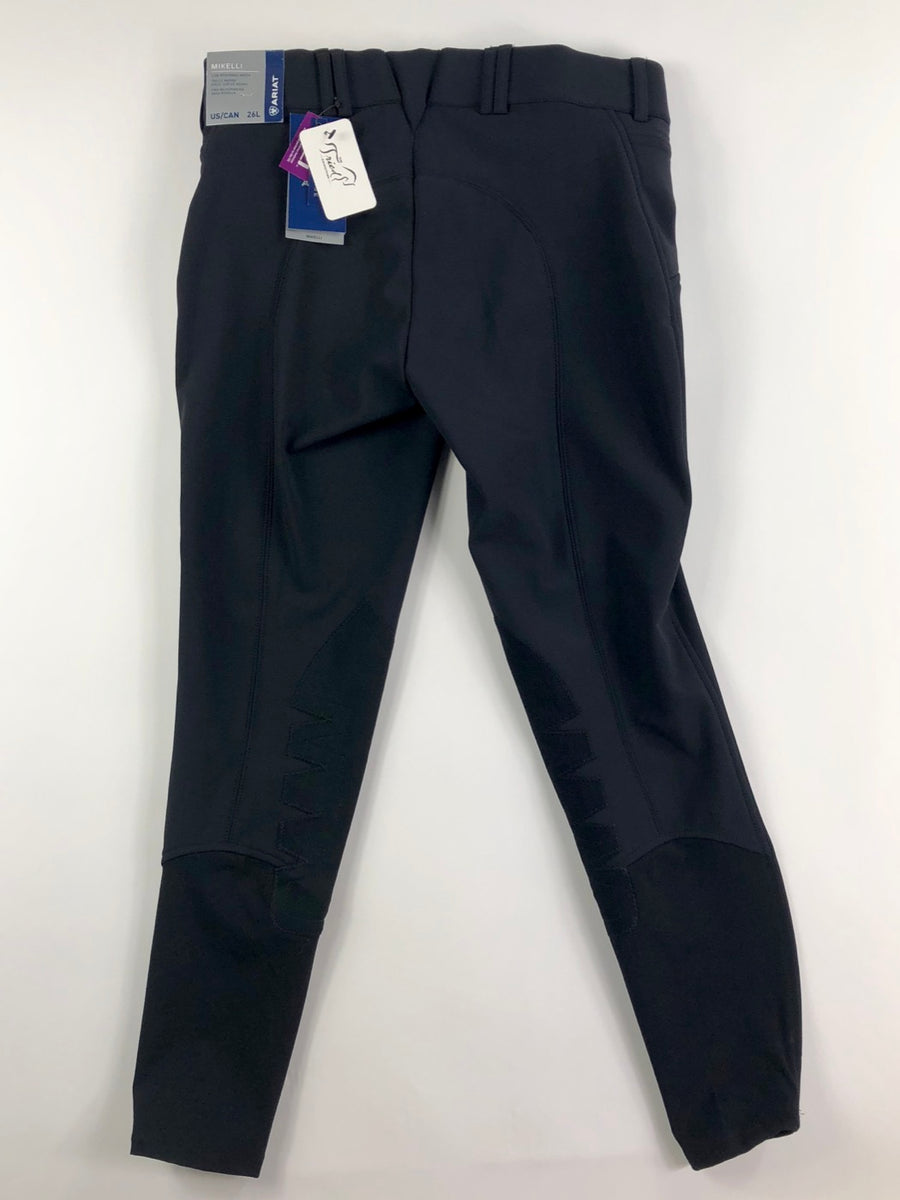 Ariat Mikelli Softshell Knee Patch Breeches in Black- Back View