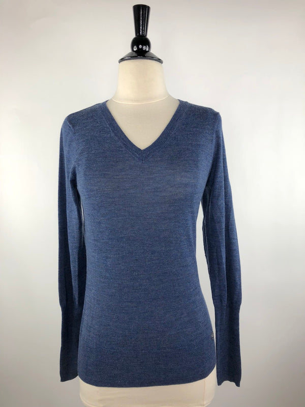 Noel Asmar Adara Merino V-Neck in Navy - Women's XS