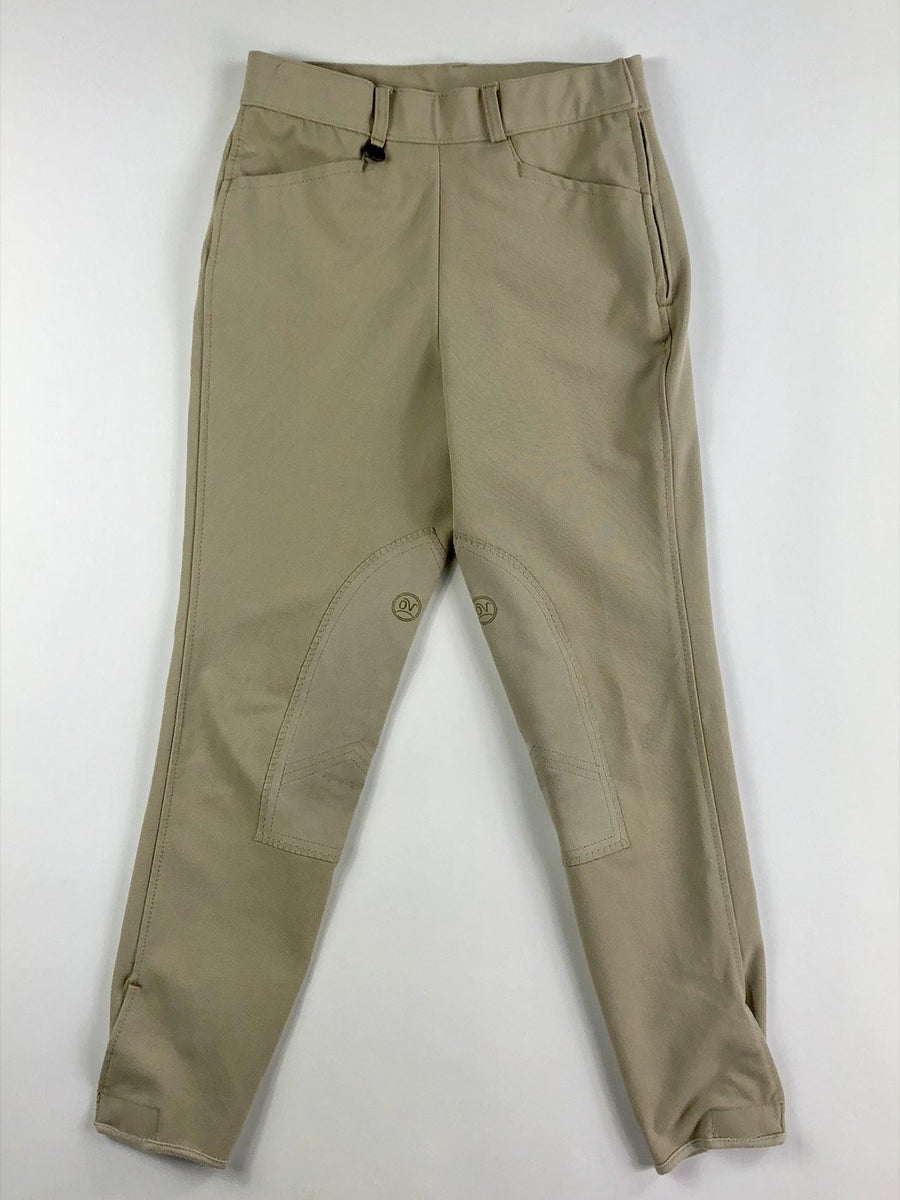 Ovation Side Zip Breeches in Tan -  Front View