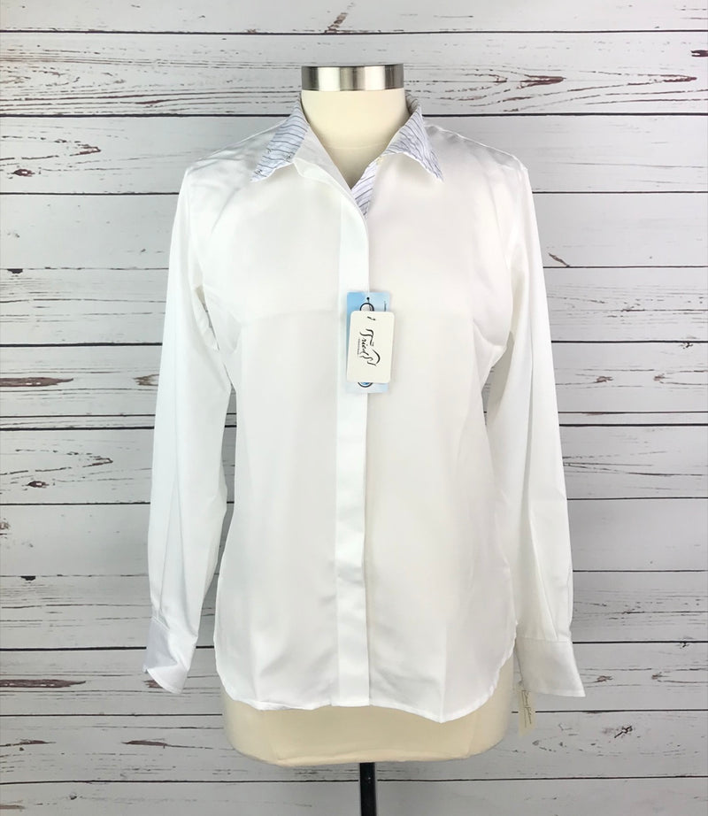 The Tailored Sportsman Bakersfield Show Shirt in White/Blue - Women's 6