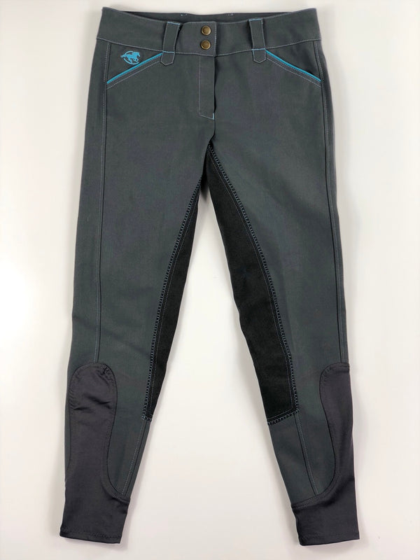 SmartPak Piper Full Seat Breeches in Grey/Turquoise - Women's 26R