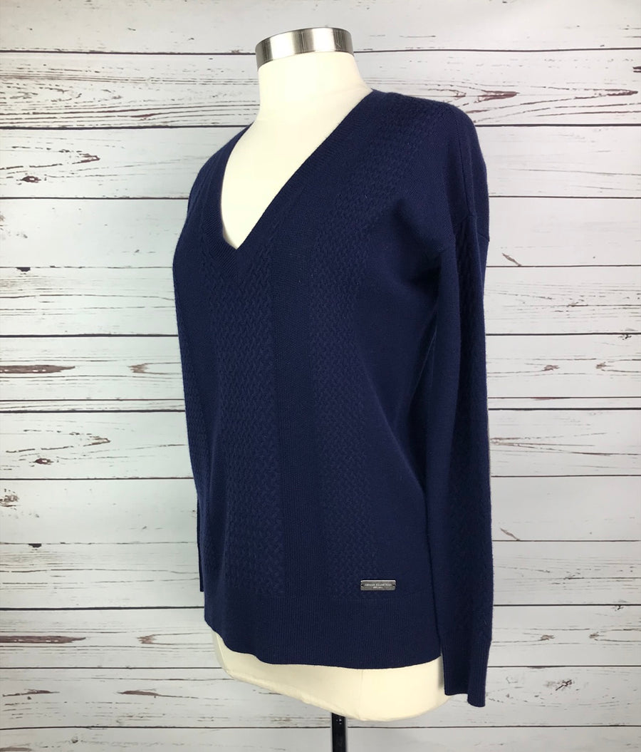 Asmar Equestrian Cashmere V-Neck Sweater in Navy- Left Side View