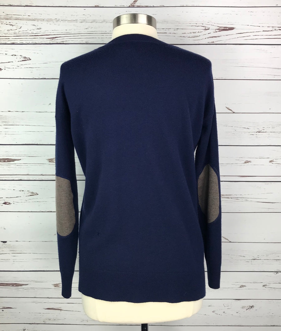 Asmar Equestrian Cashmere V-Neck Sweater in Navy- Back View