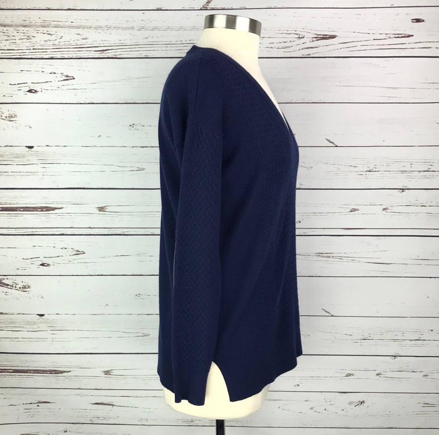 Asmar Equestrian Cashmere V-Neck Sweater in Navy- Right Side View