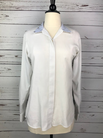 Beacon Hill Show Shirt in White/Blue Stripe- Front View