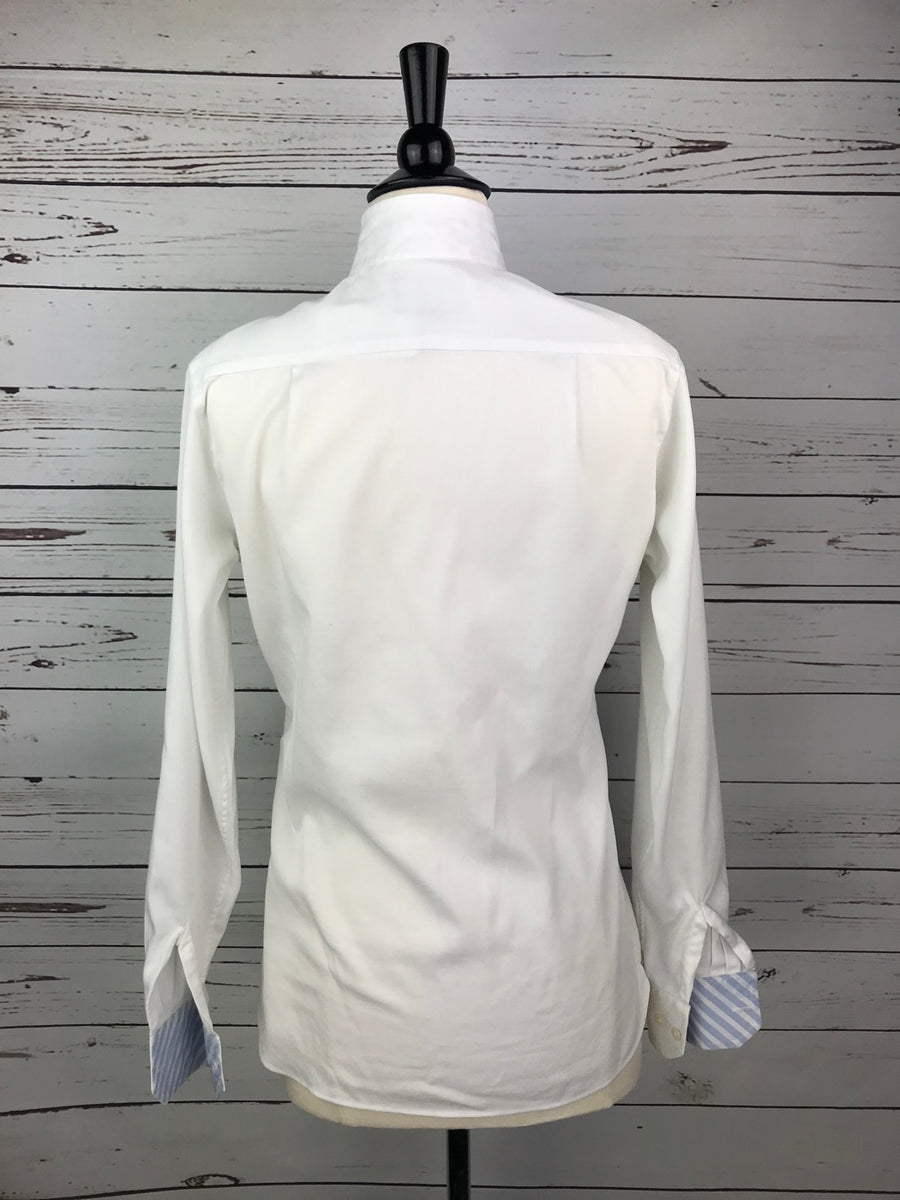 Beacon Hill Show Shirt in White/Blue Stripe- Back View
