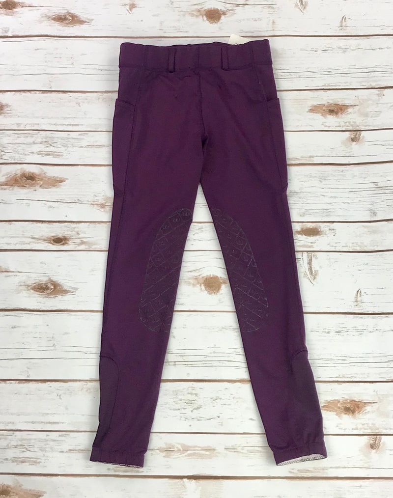 Ovation AeroWick Silicone Patch Riding Tights in Wine - Children's XL (14)