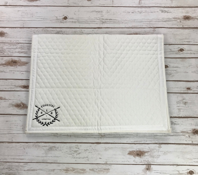 It's A Haggerty's Square Pad w/Equestrilifestyle Logo in White - Horse Size