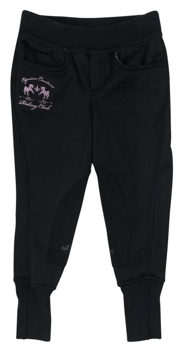 Equine Couture Riding Club Pull-On Winter Breeches in Black - Children's 6 | S