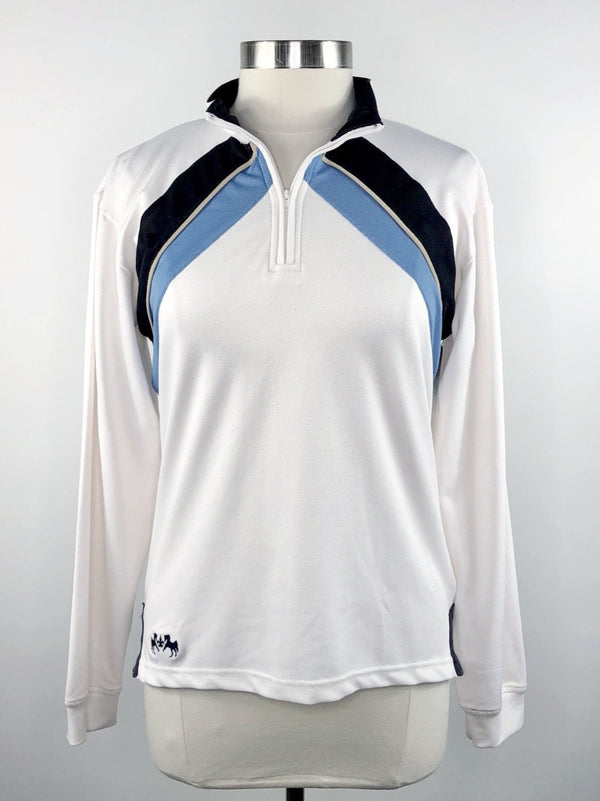 Equine Couture Air O Long Sleeve Shirt in White/Blue - Women's XL