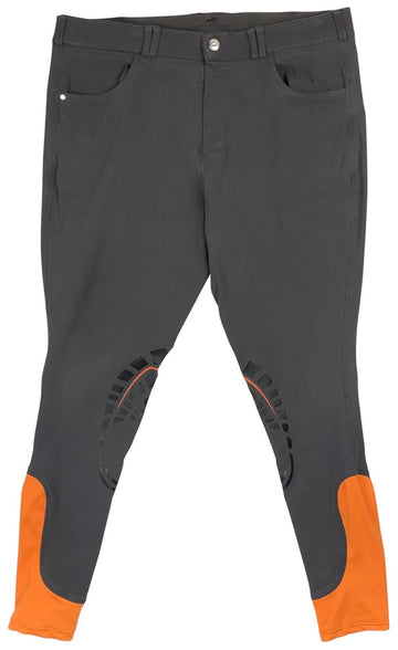 Schockemohle Draco Grip Knee-Patch Breeches in Grey/Orange  - 38L