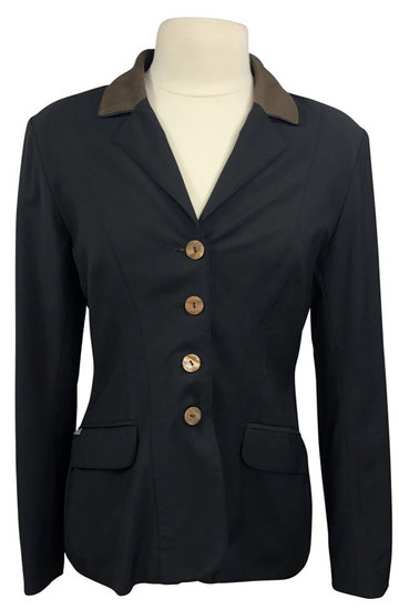 Front view Winston Equestrian Classic Competition Coat in Black and brown collar
