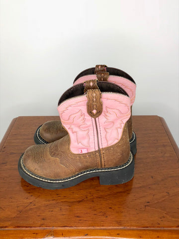 Justin Gypsy Cowgirl Boots in Nuri Pink - Outside View
