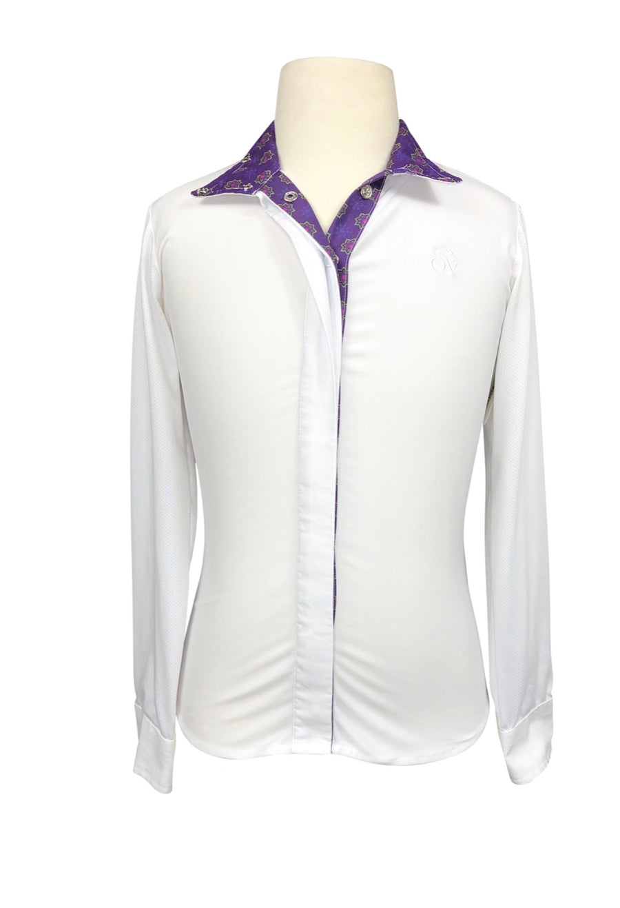 Ovation Ellie Tech Show Shirt in White/Purple - Children's 10 | M