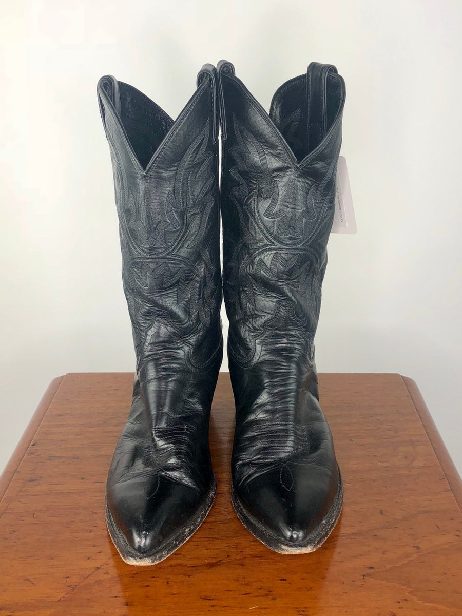 Justin Pointed Toe Western Boots in Black -  Front View 2
