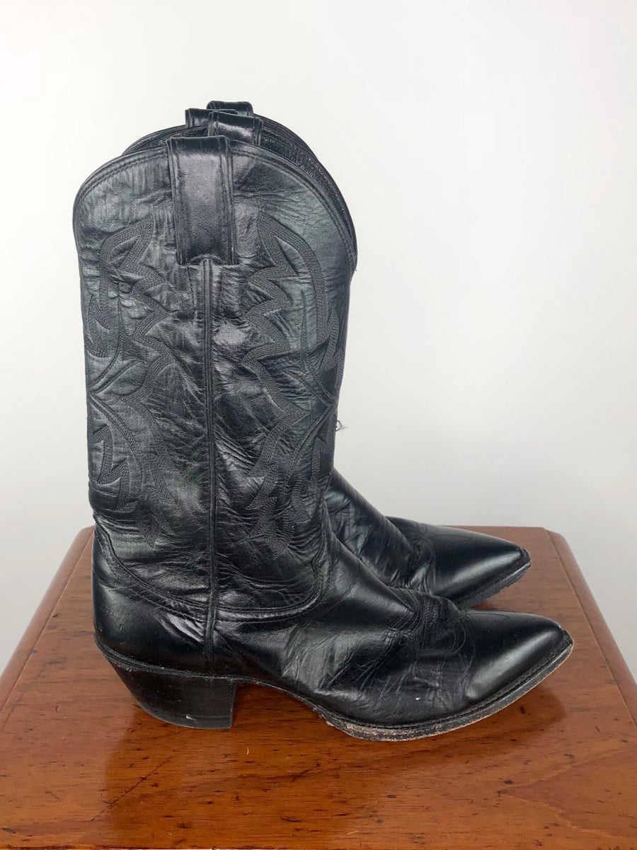 Justin Pointed Toe Western Boots in Black -  Side View 4