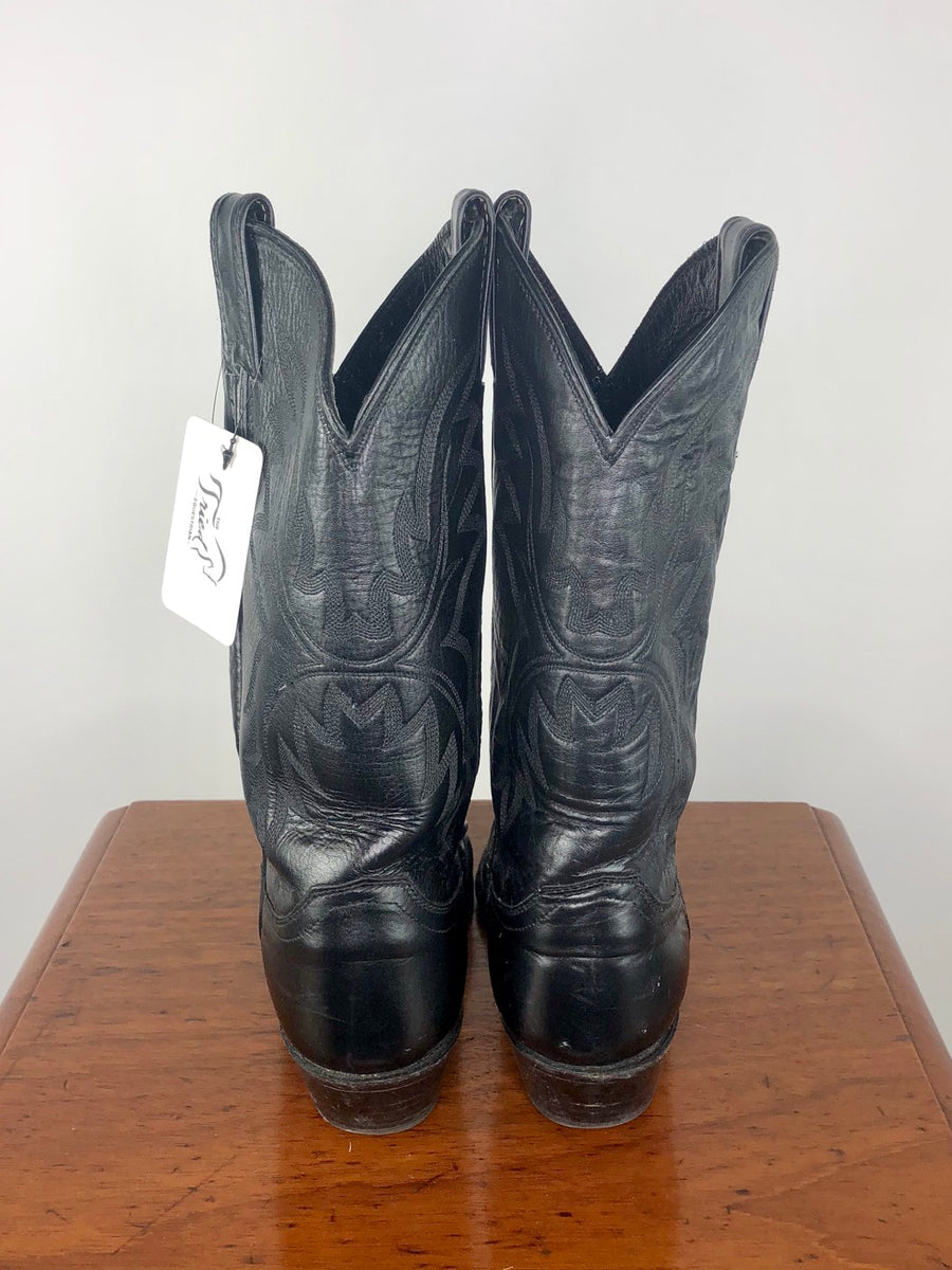Justin Pointed Toe Western Boots in Black -  Back View