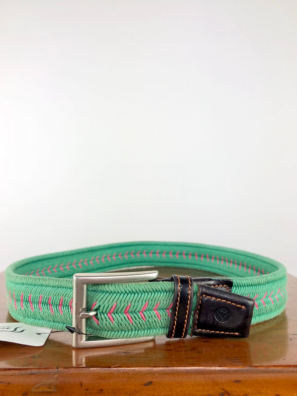 Manfredi Elastic Belt in Green/Pink - 80cm
