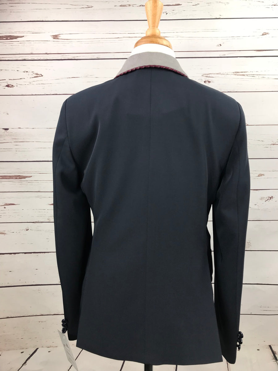 Grand Prix TechLite Show Jacket in Navy/Grey Collar - Back View
