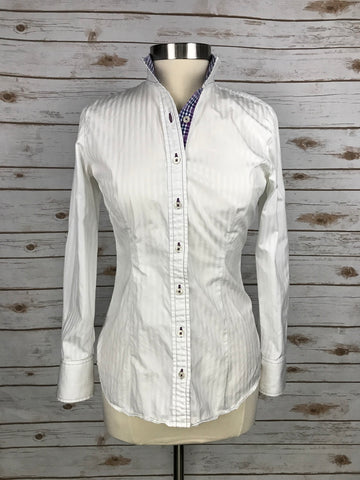 Cheval Show Shirt in White Stripe/Plaid - Women's 8 | M