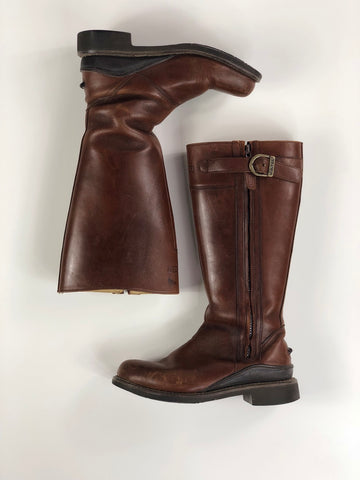 Hunter Hamilton Leather Boots in Brown -  Overview