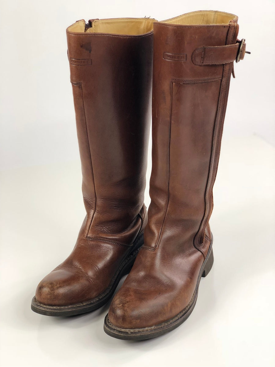 Hunter Hamilton Leather Boots in Brown -  Front View