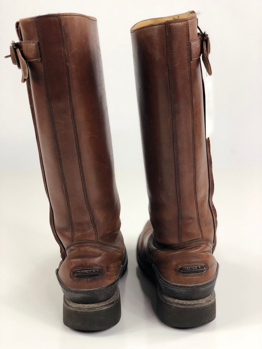 Hunter Hamilton Leather Boots in Brown -  Back View