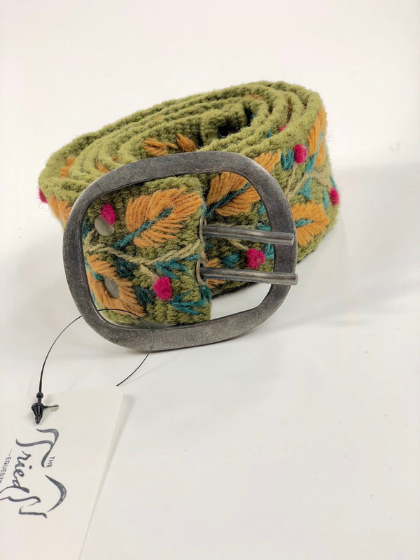 Jenny Krauss Wool Belt in Green/Mustard - Women's Large