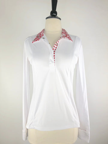 FITS Silk Touch Show Shirt in White/Red Fleur-de-lis -  Front View